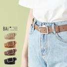 皮帶 方型扣頭霧面壓紋皮革腰帶-BAi白...