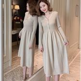 初心 針織裙 【D9838】韓系 針織 V領 開扣 彈力 毛衣裙 連衣裙 長袖 針織洋裝