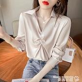 polo衫 2021年新款秋裝翻領洋氣質別致長袖襯衫女褶皺設計感小眾高級上衣 曼慕