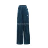 adidas 長褲 Velour Track Pants 藍綠 白 女款 寬褲 絨布 運動休閒 【PUMP306】 ED4740