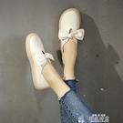 平底單鞋女鞋胖腳寬肥春季淺口一腳蹬平底蝴蝶結軟底孕婦兩穿單鞋特賣