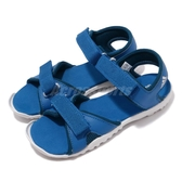 adidas 涼鞋 Sandplay OD K 藍 白 魔鬼氈 涼拖鞋 基本款 童鞋 中童鞋【PUMP306】 BC0705
