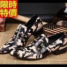皮鞋真皮尖頭鞋金屬風氣質-時尚現代造型印花低跟男鞋子65ai4【巴黎精品】