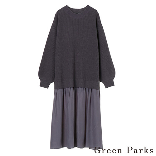 「Hot item」異素材拼接針織連身洋裝 - Green Parks