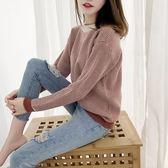 韓國韓系實拍秋冬新款撞色格子毛衣女套頭短款寬松加厚針織上衣百搭2F014.6194愛尚布衣