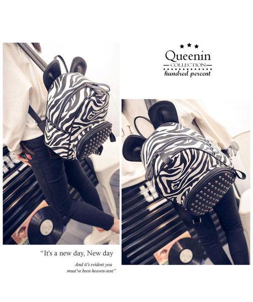 DF Queenin日韓 - 派對動物斑馬款仿皮後背包
