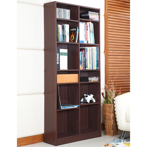 《Hopma》胡桃木色十二格書櫃/收納櫃