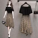 套裝上衣半身裙中大尺碼L-4XL一字領短款T卹 不規則格子半身裙大碼兩件套4F048A-472 380.胖胖