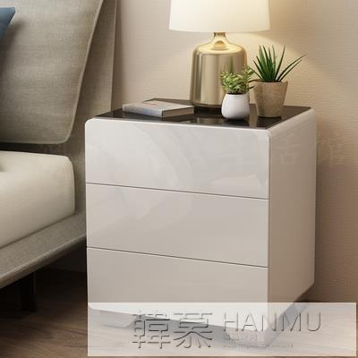 簡約現代床頭櫃簡易床邊收納小櫃白色烤漆臥室儲物小型床邊櫃 女神購物節 YTL