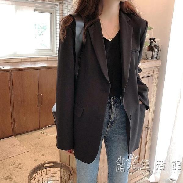 小西裝外套女黑色春秋新款韓版寬鬆英倫風西服網紅女短款上衣 小時光生活館