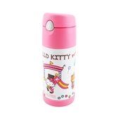 膳魔師Hello Kitty保冷瓶馬戲團篇370ml兒童水壺保溫杯附吸管提袋-大廚師百貨