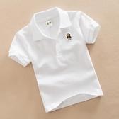 女童上衣兒童白色T恤男童夏裝女童紅色打底衫純棉翻領上衣寶寶短袖班服雙十二
