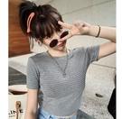 EASON SHOP(GW6172)韓版百搭撞色橫條紋短版露肚臍圓領短袖T恤女上衣服彈力貼身內搭衫閨蜜裝棉T恤粉