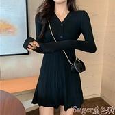針織洋裝 秋季2021新款內搭小個子顯瘦毛衣裙子氣質針織長袖連身裙女神范潮  新品