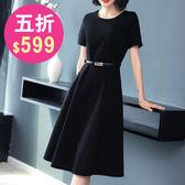 洋裝 韓版 婚禮小禮服 短袖黑色連身裙 花漾小姐【預購】