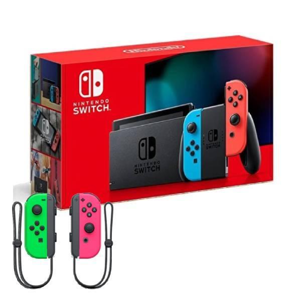 【神腦生活】任天堂 Switch 紅藍主機 (電池加強版)+Joy-Con 控制器 左右手套組 粉紅綠
