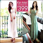 克妹Ke-Mei【ZT50421】女神系~波西米亞收腰吊帶雪紡渡假長洋裝