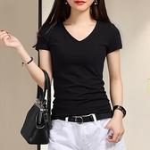 2021春夏新款黑色雞心低領T恤女士短袖白色純棉修身V領緊身上衣服 【端午節特惠】