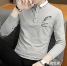 冬季翻領男士長袖t恤男裝有領純棉修身體桖秋裝帶領加絨上衣服丅 『潮流世家』
