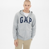 Gap男裝 logo拉鏈長袖休閒上衣 511538-淺紫灰