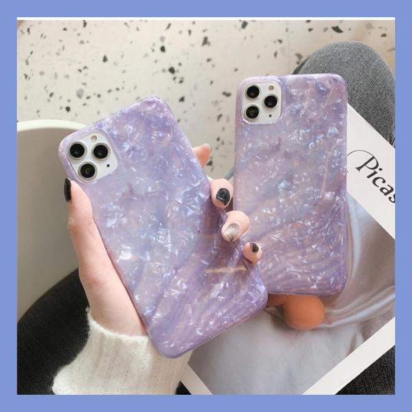 紫色貝殼紋適用11Pro/Max蘋果X/XS/XR手機殼iPhone7/8plus女套