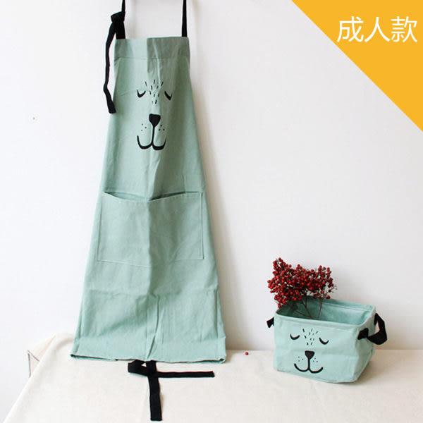 棉麻手繪熊熊烘焙親子圍裙-成人款