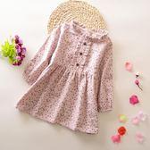 春秋季女童時尚純棉碎花洋裝連身裙公主裙碎花中小大童洋裝連身裙