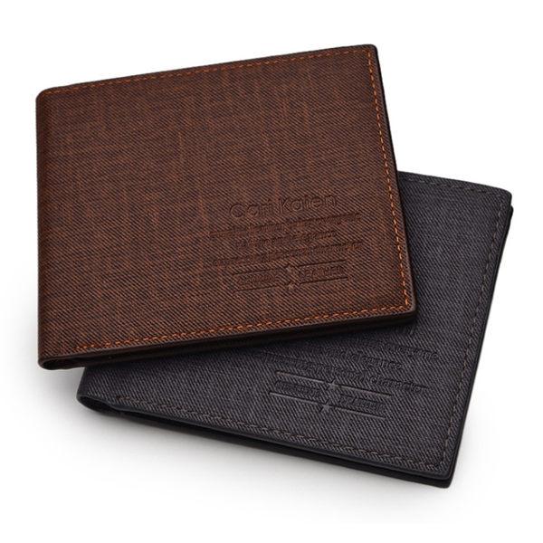 長夾 短夾 男皮夾 錢包 可放後背包包 timber *手錶趣*【05299-055】學生推薦素面丹寧布短夾(2色)