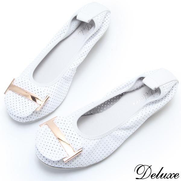 【Deluxe】全真皮透氣金屬飾頭小厚底超柔軟娃娃鞋(白)