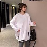 純棉打底衫內搭春秋裝新款寬鬆冬季加絨中長款白色t恤女長袖上衣