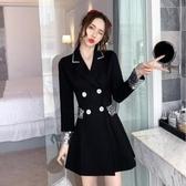 小黑裙 西裝連身裙秋冬季女裝2020新款長袖法式收腰顯瘦氣質赫本風小黑裙 維多原創