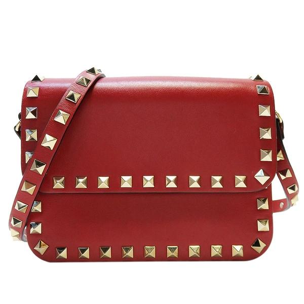 VALENTINO 范倫鐵諾 紅色牛皮鉚釘斜背包 Rockstud Flap Shoulder Bag【BRAND OFF】