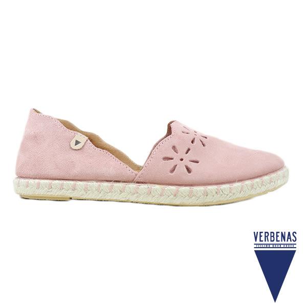 【VERBENAS】CALPE卡爾佩牛皮鏤空造型草編鞋/休閒鞋 粉紅色(030136-PIN)