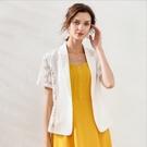 中大尺碼薄外套 蕾絲拼接短袖俏麗顯瘦西裝短外套 白色 L-5XL #mm78559 @卡樂@