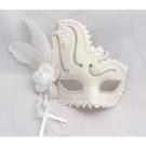 威尼斯面具化妝舞會公主面具男女款羽毛加花蕾絲全臉白色金粉面具 快速出貨