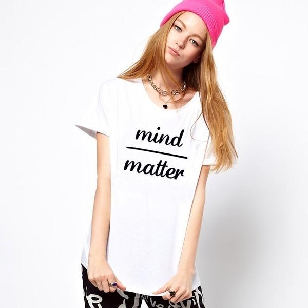 MIND OVER MATTER短袖T恤 2色 心靈超越物質文字英文趣味幽默t-shirt特價$390 gildan