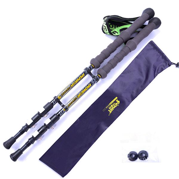 PUSH! 戶外休閒登山用品 195g高強度航空碳纖維COOLMAX手腕帶3LS三節式登山杖(2入)P67