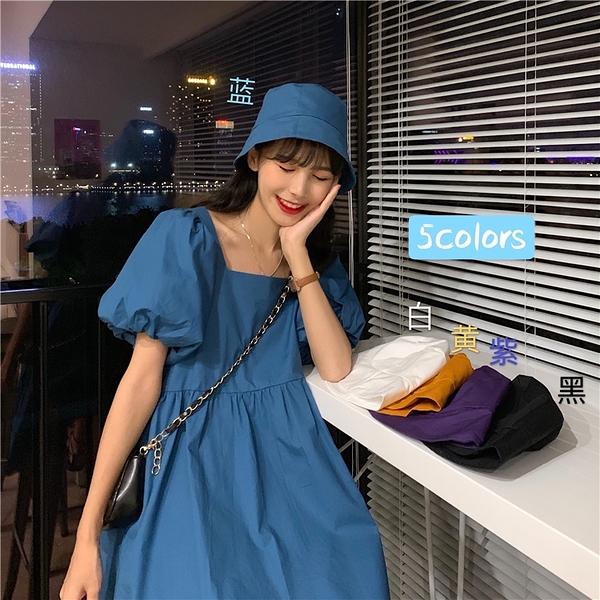泡泡袖洋裝 方領泡泡袖連衣裙女夏季2021新款法式初戀甜美設計感小個子娃娃裙 歐歐