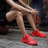 低幫籃球鞋男夏季防滑透氣學生運動鞋紅色水泥地耐磨球鞋男