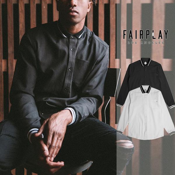 【GT】FairPlay Nialle 黑白 長袖襯衫 修身 休閒 商務 棉質 素面 長版 Polo領 圓弧下擺 羅紋袖口