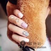 假指甲/短款貼片 成品美甲貼片 粉紫黑條紋 簡約指甲甲片
