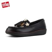 超值魅力精選特惠【FitFlop】PAIGE DARK FLORAL MOCCASIN LEATHER LOAFERS浪漫印花樂福鞋(黑色)