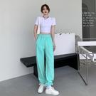 運動褲 運動褲女夏季束腳褲高腰顯瘦薄款直筒褲小個子衛褲休閒褲寬鬆褲子 韓國時尚週 免運