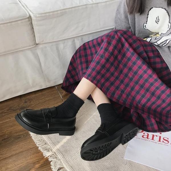 牛津鞋 英倫風小皮鞋女百搭平底單鞋女2020春款圓頭黑色工作鞋粗跟樂福鞋 薇薇