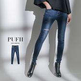 (現貨)PUFII-牛仔褲 後鬆緊腰割破丹寧牛仔褲窄褲長褲-1101 現+預 秋【CP15474】