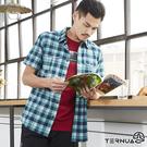 【西班牙TERNUA】男排汗快乾格紋短袖襯衫 1481138 / 城市綠洲(輕量、透氣、防異味、伸展、快乾)