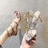 夏季新款高跟鞋百搭性感細跟仙女露趾法式少女一字扣帶涼鞋女