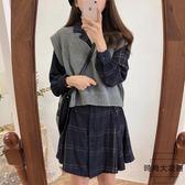 毛衣馬甲 襯衣裙套裝女韓版學院風甜美可愛兩件套【時尚大衣櫥】