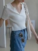 polo衫v領冰絲針織衫女短袖夏季薄款高腰修身短款上衣白色T恤