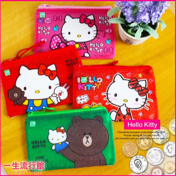 Hello Kitty 凱蒂貓 LINE 熊大 正版 霧透網 方形零錢包 票卡夾 小物包 B10155